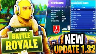 *NEW* UPDATE 1.32 in FORTNITE BATTLE ROYALE! (New Guns, Map, Skins + Much MORE)