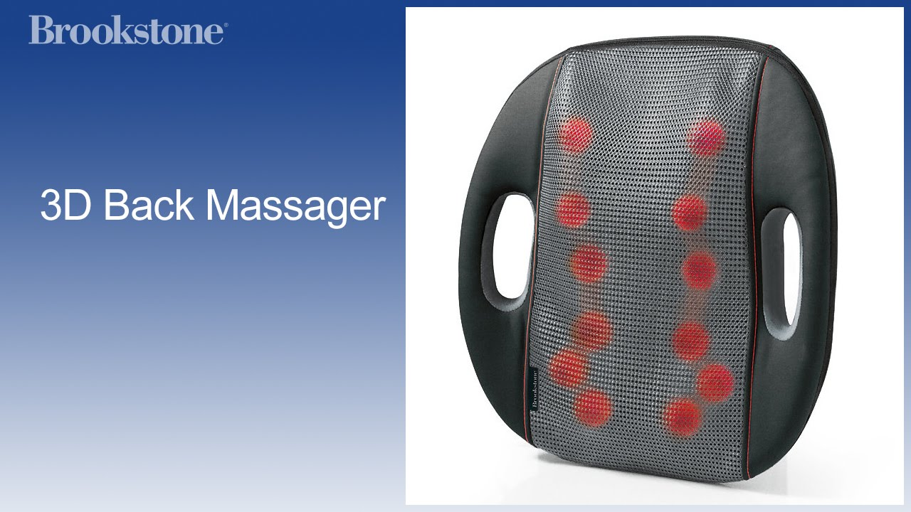 The Brookstone 3D Back Massager uses 12 deep-kneading massagers to move up-and-down, side-to-side, and even front-to-back along the curve of your spine to .