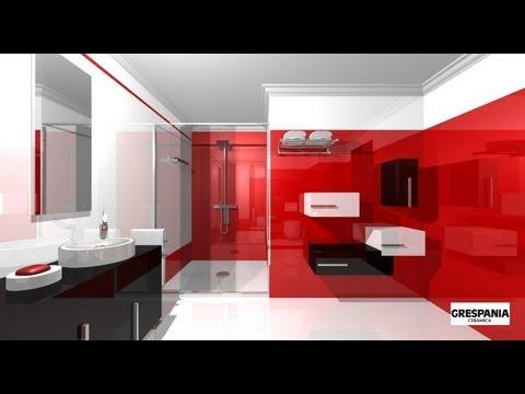 Dise o de cuarto de ba o minimalista en blanco y rojo - Diseno de habitaciones ...