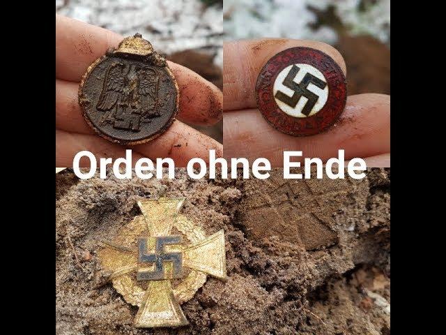 Sondeln mit vielen Orden und Münzen, Metal detecting mit WW2 Funden