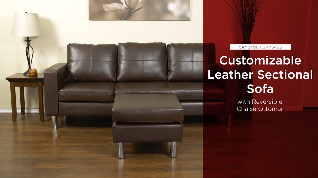 sky3496 sky3495 leather l shape sectional sofa couch w reversible chaise ottoman