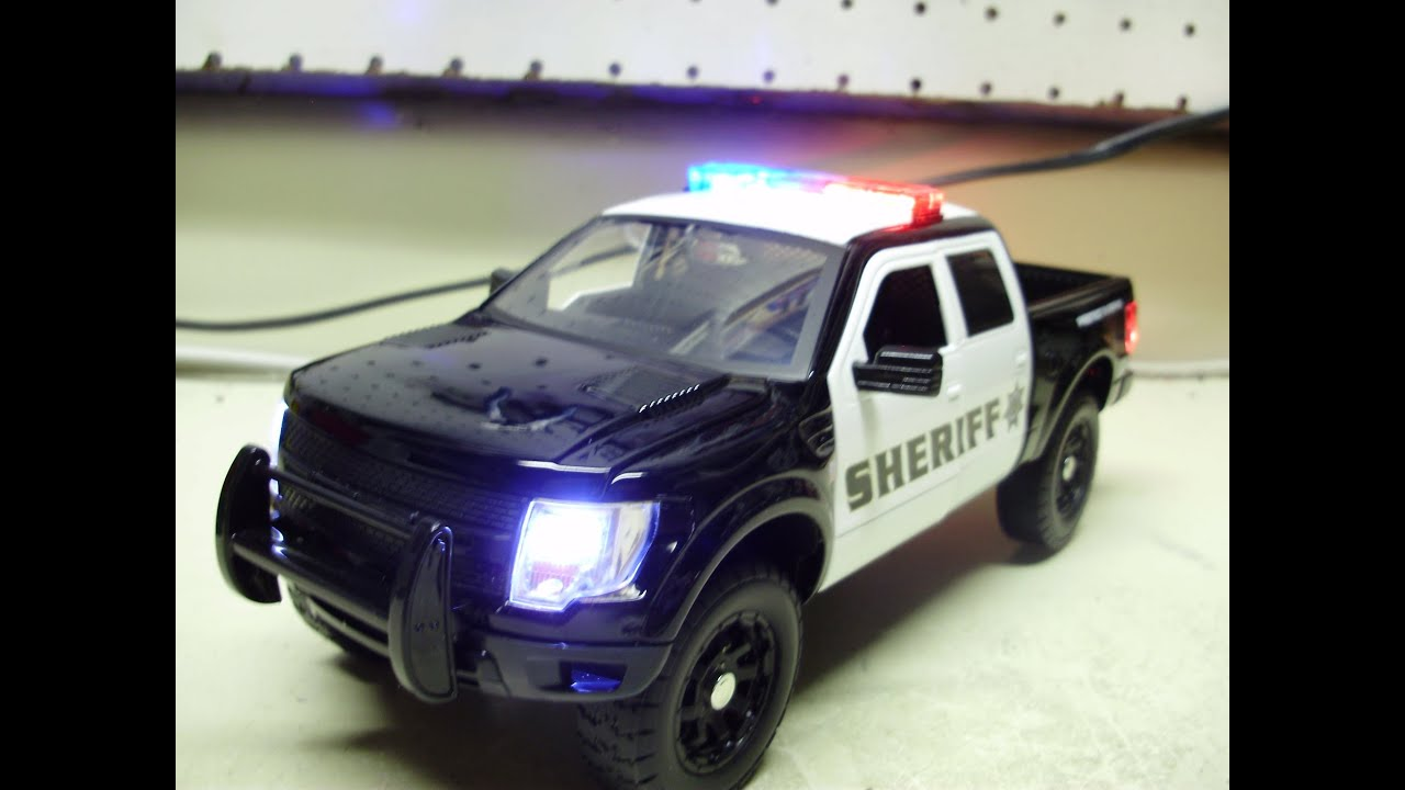 Custom 1 24th scale jada diecast ford raptor sheriff truck with working lights