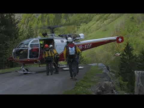 Last rescue training for the Alouette III HB-XOF. Lauterbrunnen 17th May 2014