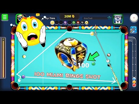 8 Ball Pool First Ever 100 Miami Beach Rings  9 Ball ( World Record ) Indirect Trickshots Bank Shots