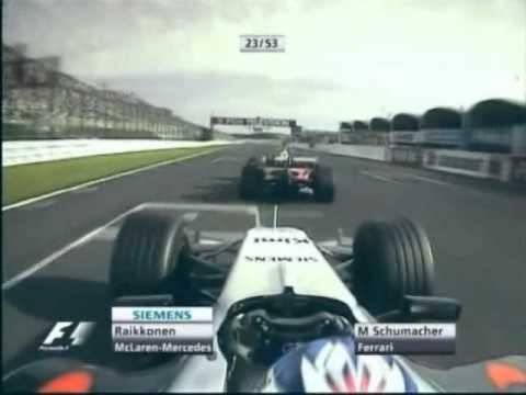 Japanese Grand Prix 2005 - Räikkönen overtakes Schumacher (MTV3)