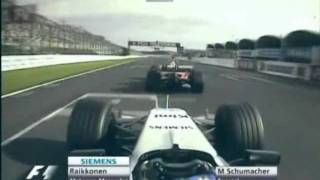 Japanese Grand Prix 2005 - Räikkönen overtakes Schumacher REPLAY (Finnish commentary)