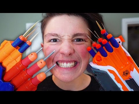 Thumbnail: MOST DANGEROUS TOY OF ALL TIME!!! *BLOOD WARNING* (EXTREME NERF GUN CHALLENGE)