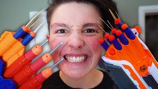 MOST DANGEROUS TOY OF ALL TIME!!! *BLOOD WARNING* (EXTREME NERF GUN CHALLENGE)