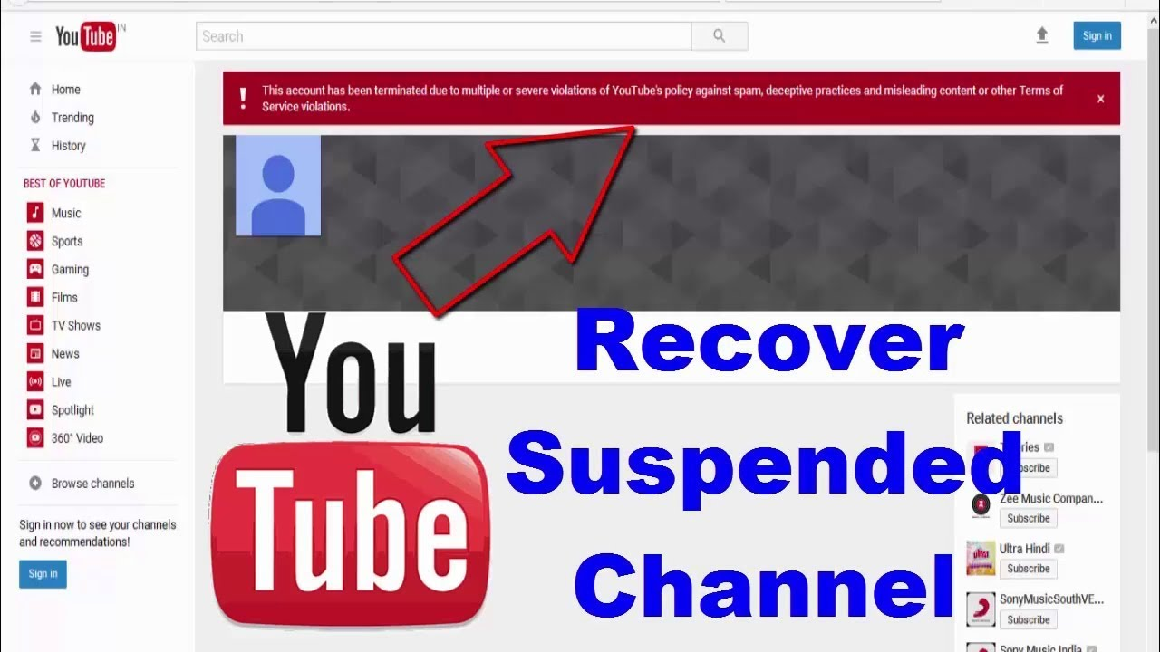 Image result for how to recover suspended youtube account