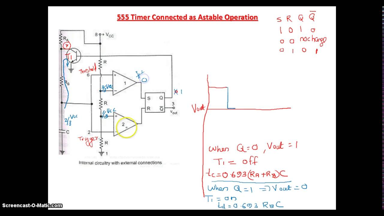 Astable Operation Using 555 Timer Youtube Oscillator Circuits