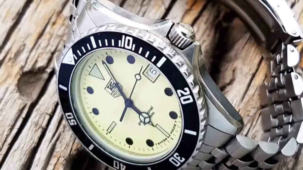 1980s vintage tag heuer 1000 professional night diver youtube