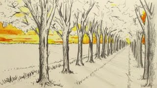 How to Draw in 1-Point Perspective: Narrated: A Road and Trees