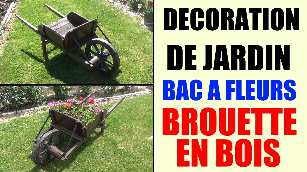 bac fleurs brouette en bois id e d coration de jardin youtube. Black Bedroom Furniture Sets. Home Design Ideas