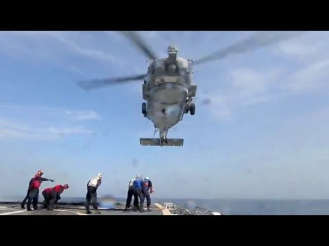 MH-60R Seahawk Shipboard Helicopter Ops - View Through a Sailor