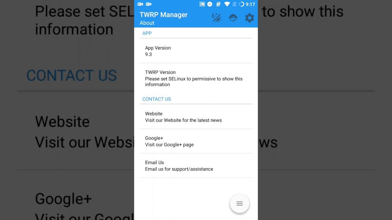 Las opciones de Twrp Manager