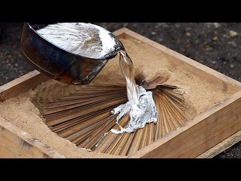 литье алюминия в песок  Homemade melted aluminum