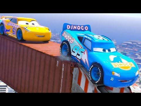 CARS DINOCO CITY PARKOUR BEST LAP CHALLENGE (Dinoco Lightning Mcqueen)