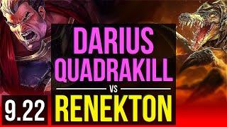 DARIUS vs RENEKTON (TOP) | Quadrakill, 1.4M mastery points, 500+ games | TR Master | v9.22