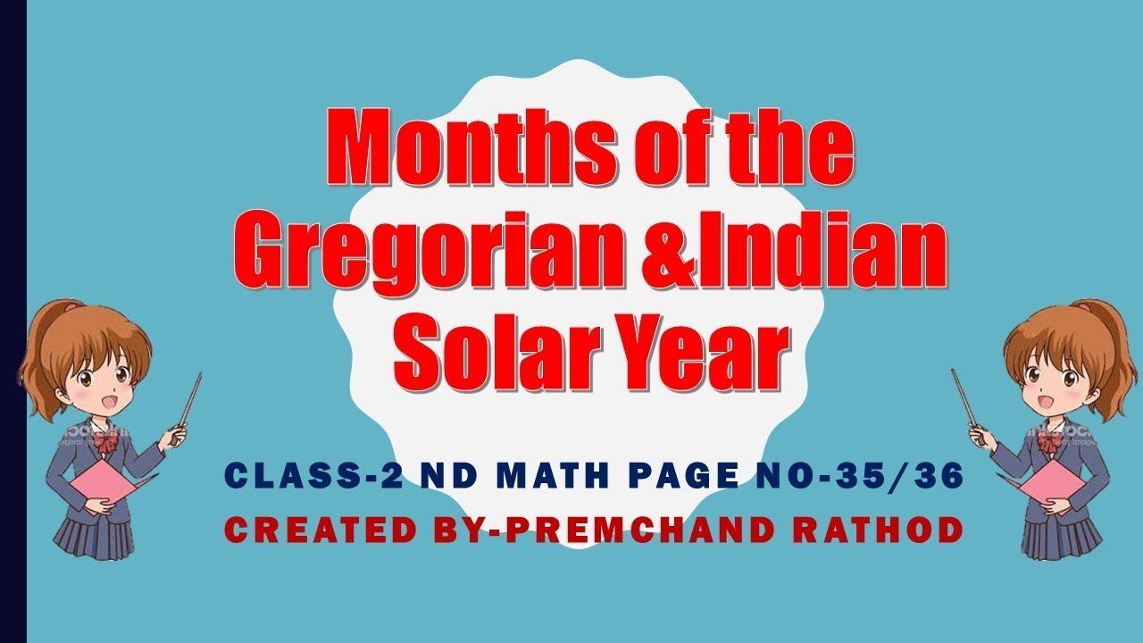 Class -2 nd Math -MonthS Of the Gregorian & Indian Solar Year - page ...
