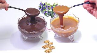 صوص الشيكولاته وصوص التوفي الاقتصادي في 3 دقائق لتغليف وتزيين الحلويات والكيكات