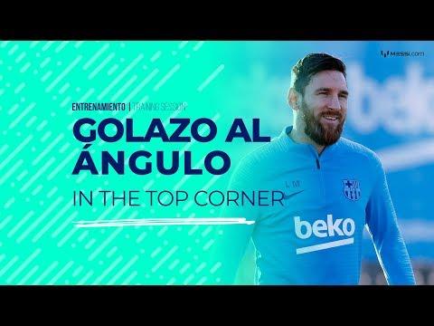 Golazo al ángulo y asistencias de Messi en la práctica del Barcelona