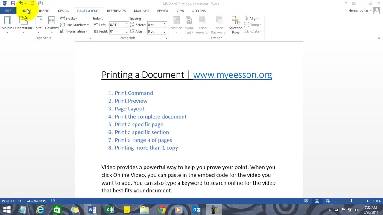 MS Word Printing A Document Chapter 9