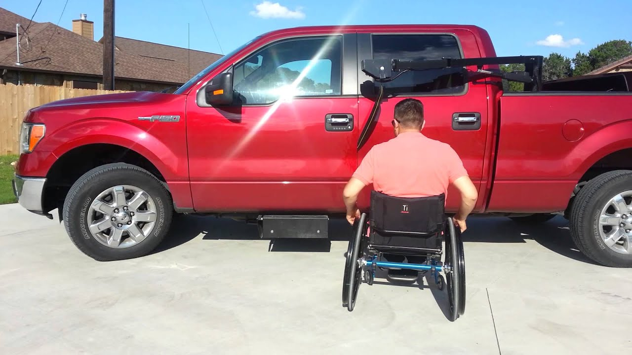 Wheelchair Lift For Truck White Folding Chair Easy Hiding Pickup Youtube