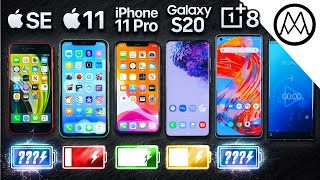 iPhone SE vs iPhone 11 vs iPhone 11 Pro vs Samsung vs OnePlus Battery Drain Test!