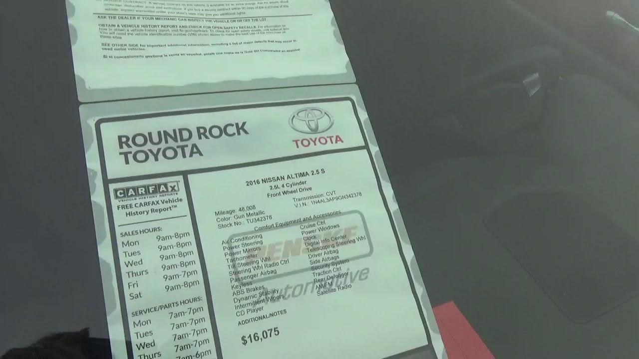 2016 Nissan Altima From Jill At Round Rock Toyota (window Sticker)