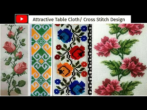 Beautiful Attractive Cross Stitch Or Table Cloth Design Cross Stitch Bed Sheet Design Youtube