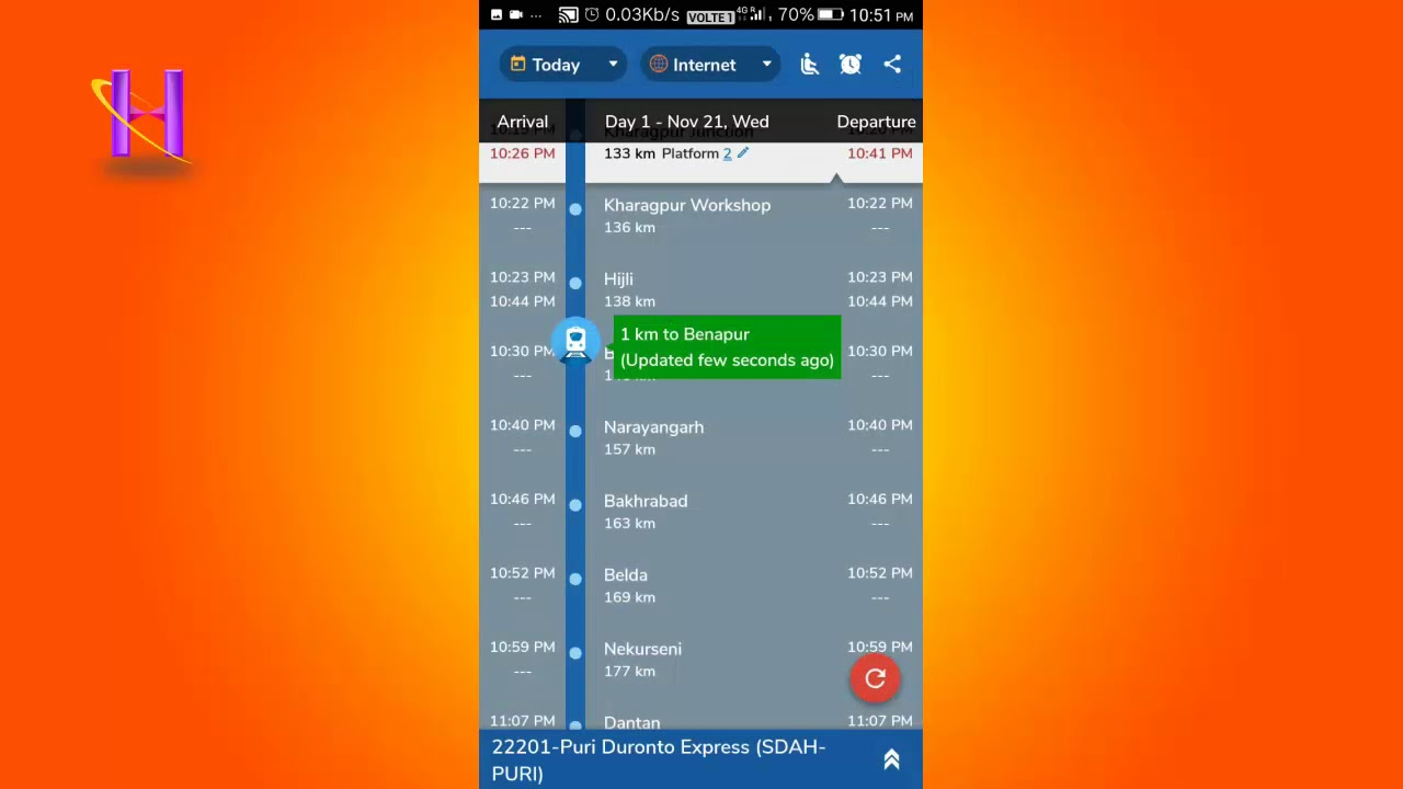 How to use where is my train app to get live updates