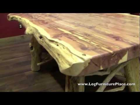 Red Cedar Log Dining Table from LogFurniturePlace