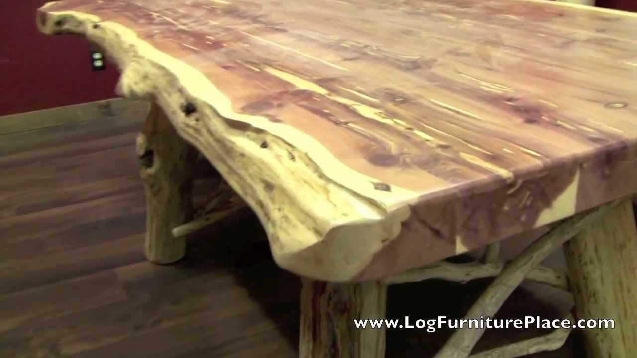 Red Cedar Log Dining Table from LogFurniturePlacecom