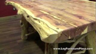 Red Cedar Log Dining Table from LogFurniturePlace.com