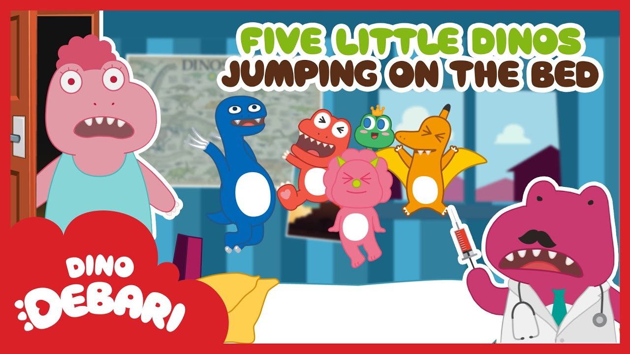 NO more dinos jumping on the bed!   Five little dinos jumping on the bed   Kids Songs   DebariTV