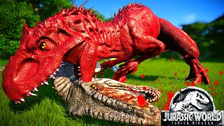 T-Rex Vs I-Rex Vs Spinosaurus Vs Carnotaurus - Jurassic World Camp Cretaceous Dinosaurs Fighting JWE