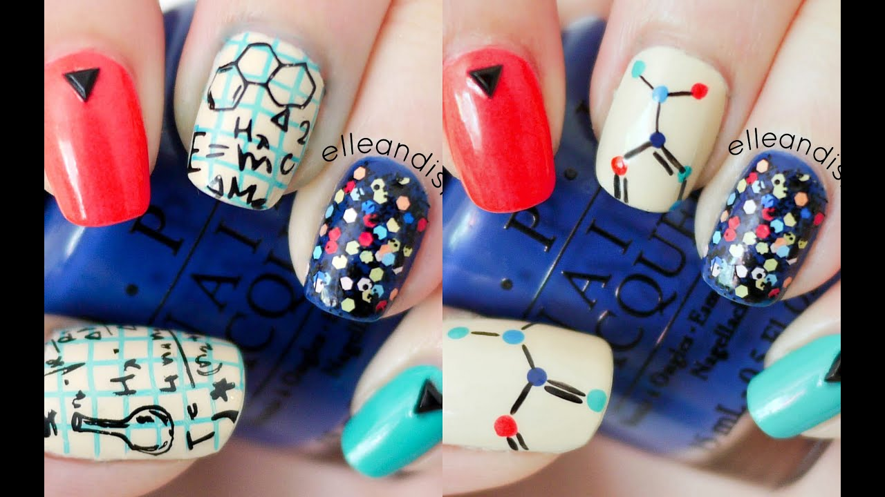 Nerdy Science Nails (Choose Freehand or Stamping) - YouTube