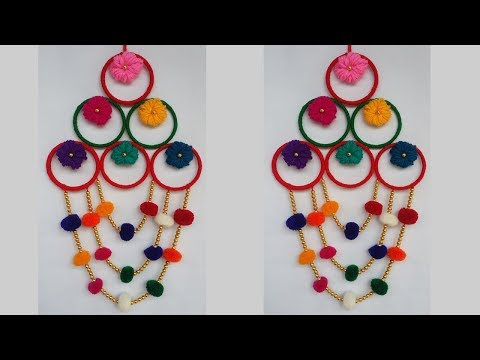 DIY: Old Bangles Reuse Idea!!! How to Make Wall Hanging with Wool & Bangles for Home Decoration!!!