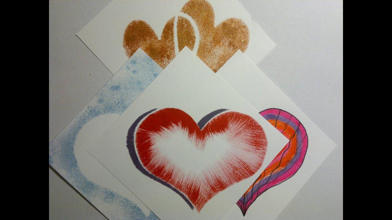 Maletekniker til Valentines hjerter med hjemme lavet skabelon