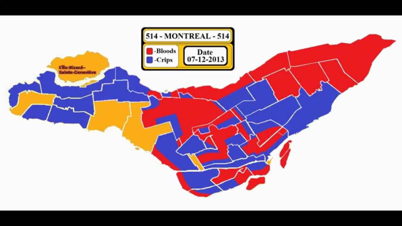 Bloods  Crips Montreal  Gang Map Territories  Real - Los angeles map gangs