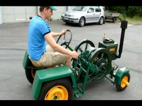 Home made tractor with old hit and miss engine - YouTube