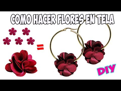 c7abe94bad1c Como Hacer Flores En Tela para Aretes - YouTube