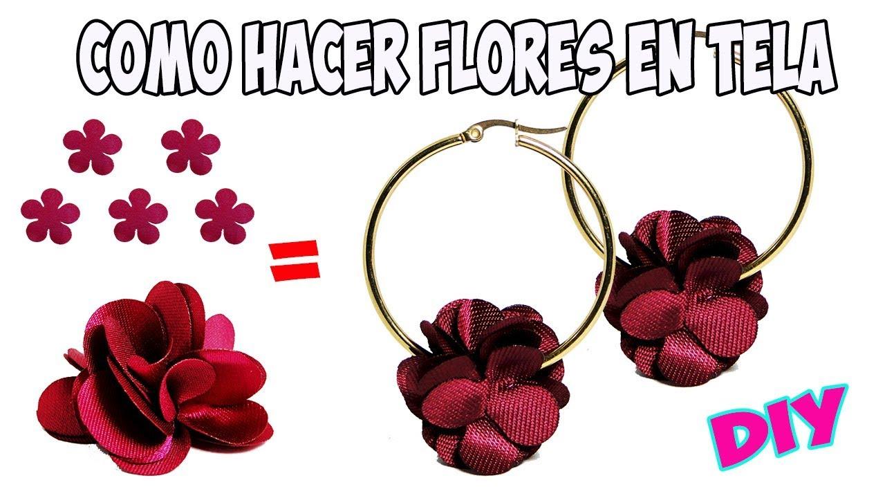 10a3de9a6f06 Como Hacer Flores En Tela para Aretes - YouTube
