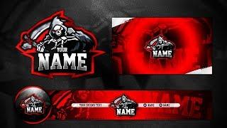 Gaming Reaper Mascot Logo/Avatar/Banner/Wallpaper Template PSD