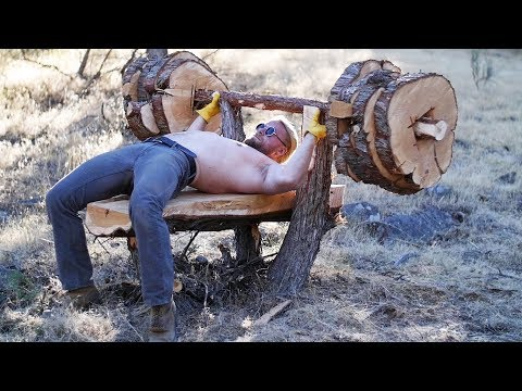 We Built A Bench Press From A Tree