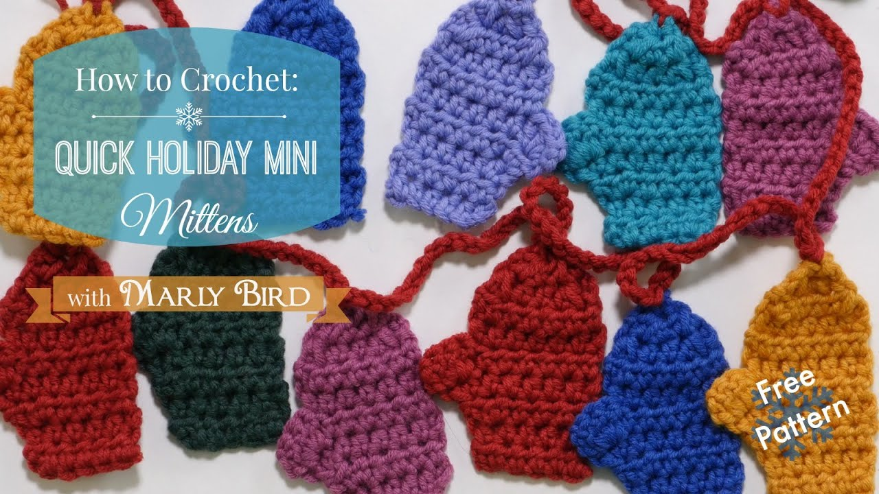 Quick Mini Mitten Garland Free Crochet Pattern - YouTube