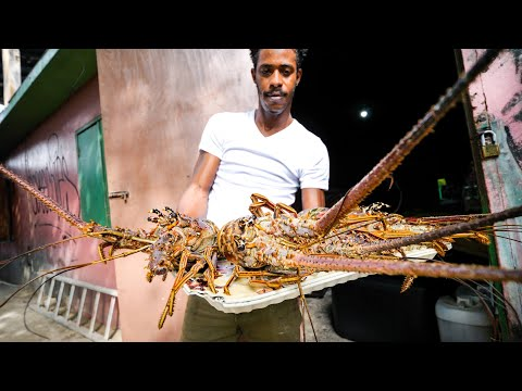 Fried Lobster Jacuzzi 🦞 JAMAICAN FOOD 🇯🇲 Beach Party at Hellshire Beach, Jamaica!