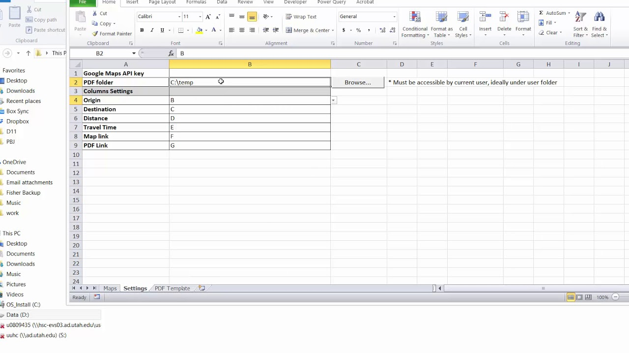 Excel Distance Calculator with PDF download and step by step directions
