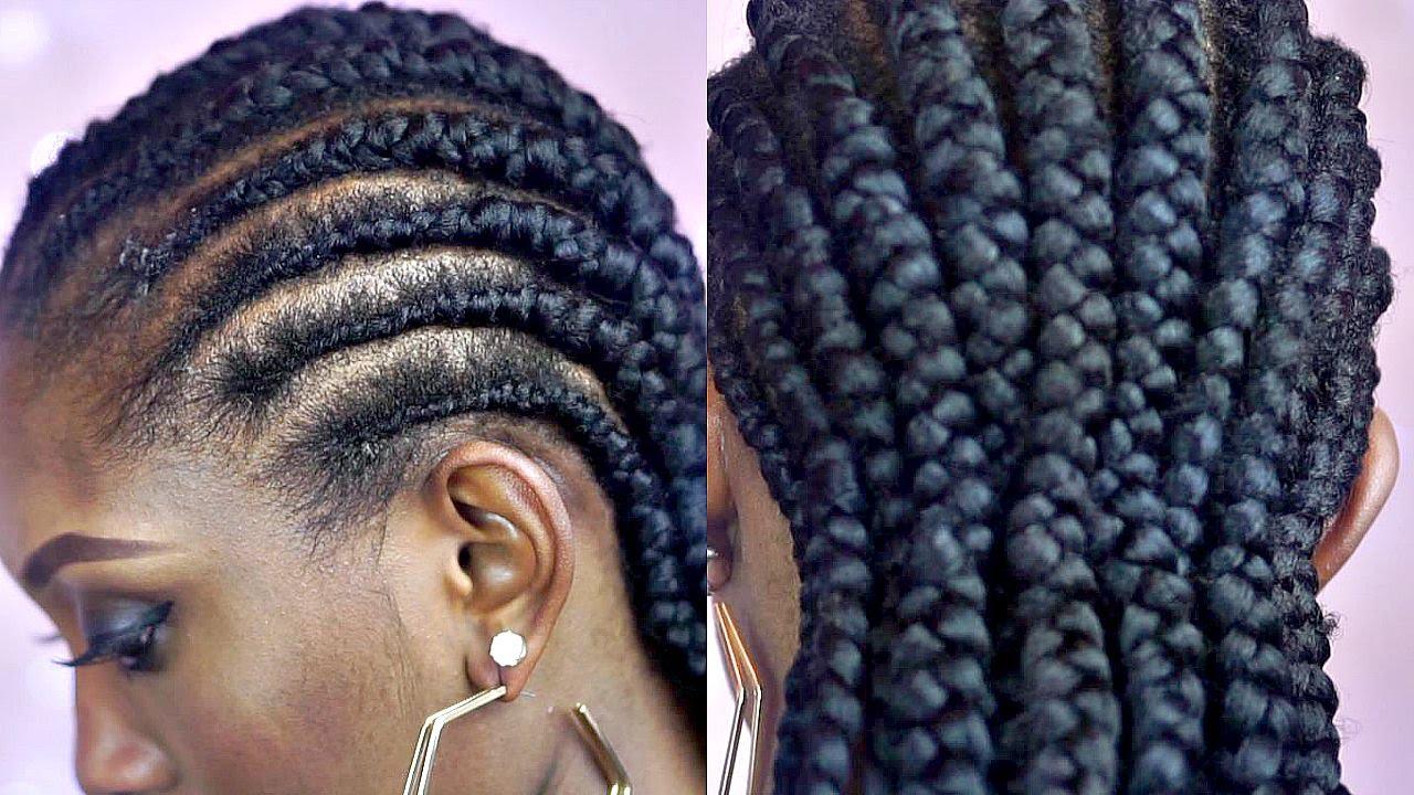 Tutorial How To Braid Big Cornrows On Short Natural Hair Youtube