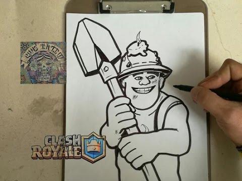 Como Dibujar A Minero Clash Royale How To Draw Miner Clash Royale